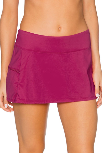 Sunsets Pink Poppy Sporty Swim Skirt