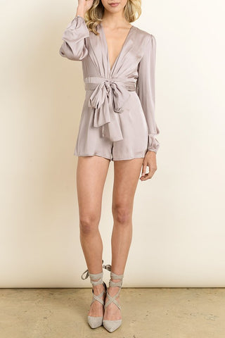 Dress Forum Satin Plunging Knotted Romper