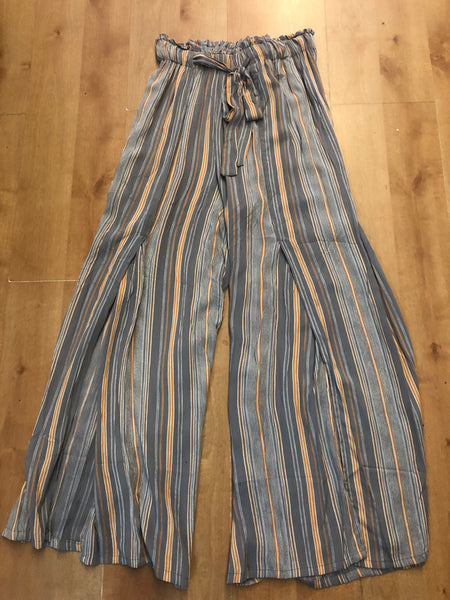 Gray & Coral Striped Pants