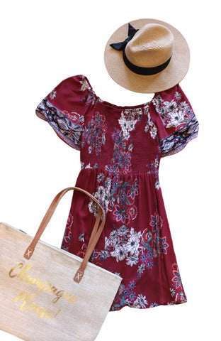 Angie Floral Smocked Short Sleeve Dress