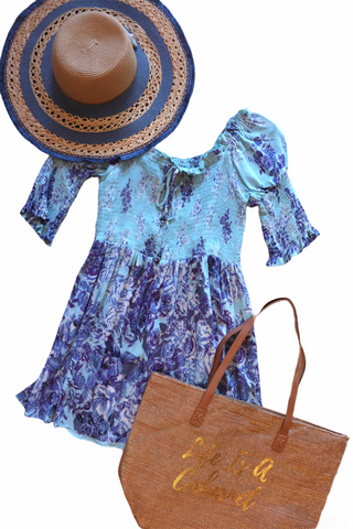 Angie Short Sleeve Blue Floral Dress