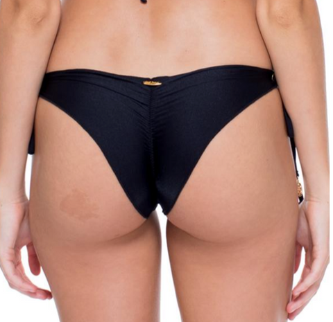 Luli Fama Black Wavey Ruched Brazilian Tie Side Bottom