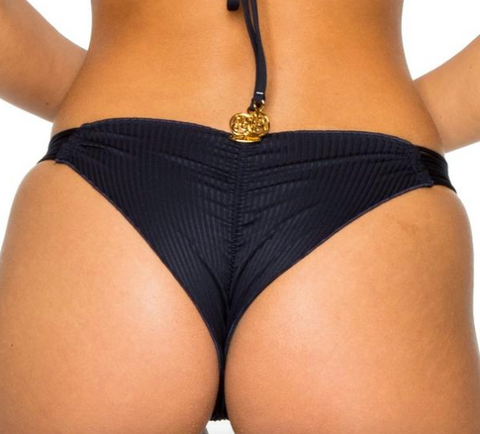 Strappy Brazilian Ruched Back Bottoms Black