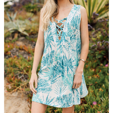 J Valdi Cabana Lace Up Tank Dress Coverup
