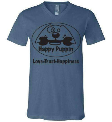 Happy Puppin Canvas Unisex V-Neck T-Shirt