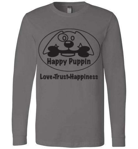 Happy Puppin Canvas Long Sleeve T-Shirt
