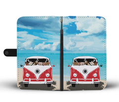 Happy Puppin Red Bus Phone Case Wallet