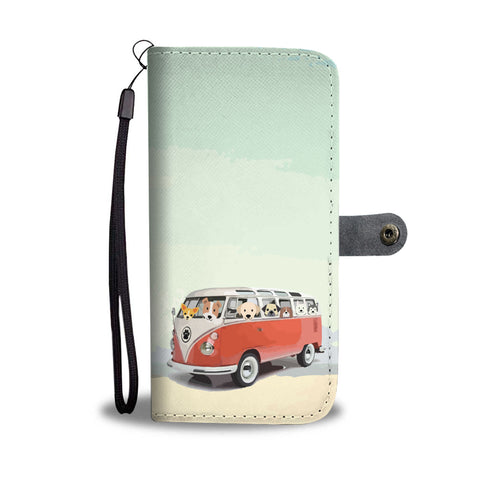 Happy Puppin Red Bus II Phone Case Wallet
