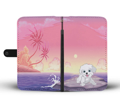 Happy Puppin Ocean Sunset Phone Case Wallet