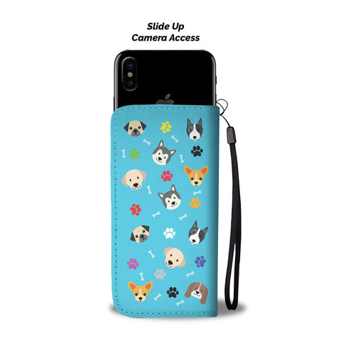Happy Puppin Blue Phone Case Wallet