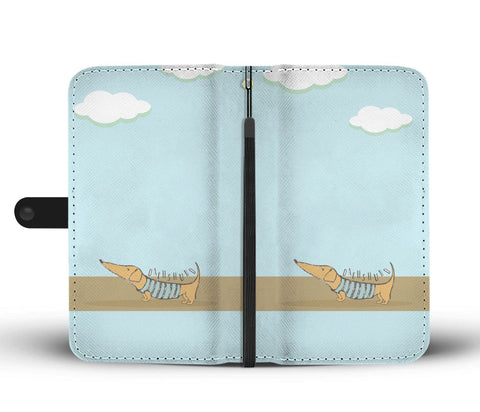 Happy Puppin Dachshund Blue Phone Case Wallet