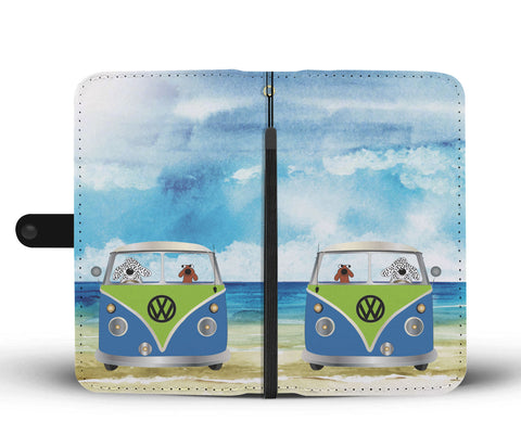 Happy Puppin Blue VW Phone Case Wallet