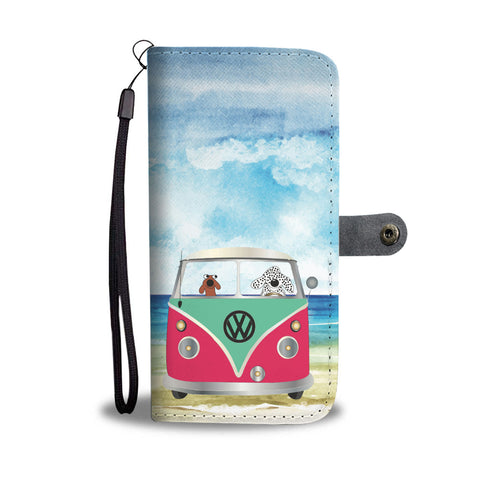 Happy Puppin Green VW Phone Case Wallet