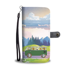 Happy Puppin Green Bus Phone Case Wallet