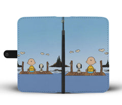 Charlie Brown & Snoopy On Dock Phone Case Wallet