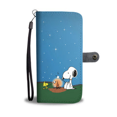 Happy Puppin Snoopy & Woodstock Campfire Phone Case Wallet