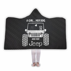 A Girl Her Dog And Her Jeep Hooded Blanket