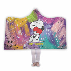 I Love Snoopy Hooded Blanket