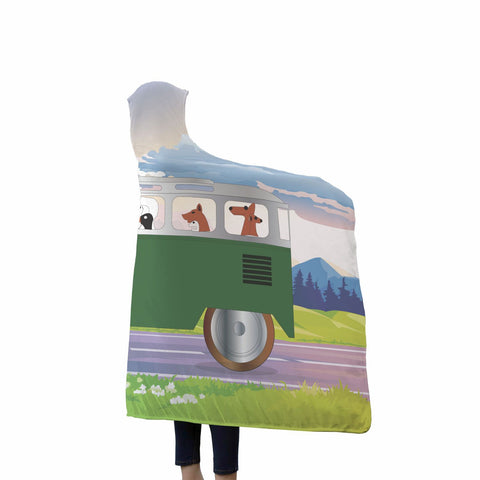 Dogs Driving Bus Hooded Blanket