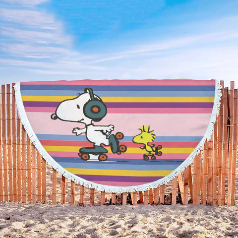 Snoopy & Woodstock Skating Tunes Beach Blanket