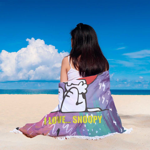 I Love Snoopy Beach Blanket