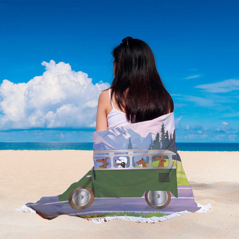 Dogs Driving Bus Beach Blanket