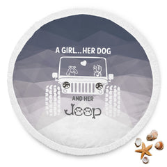 A Girl Her Dog And Her Jeep Beach Blanket