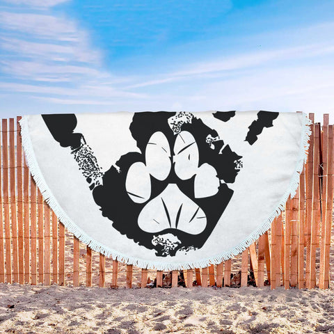 Happy Puppin Paw In Hand Beach Blanket