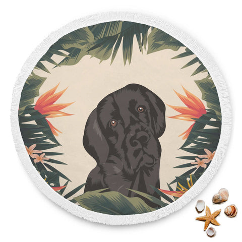 Black Labrador Beach Blanket