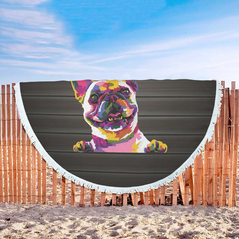 I Love Pug Beach Blanket
