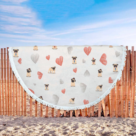 Pug Love Beach Blanket