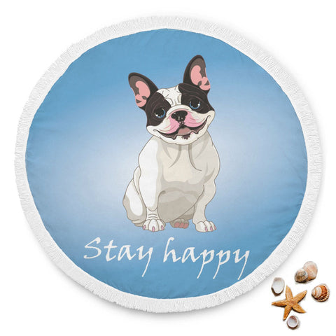 Stay Happy Blue Beach Blanket