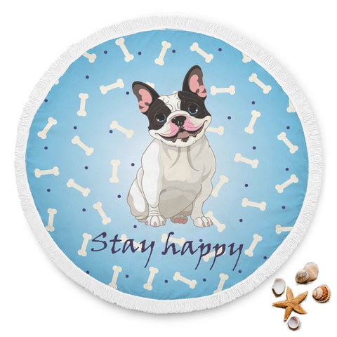 Stay Happy Blue Bones French Bulldog Beach Blanket