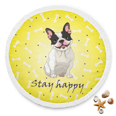 Stay Happy Yellow Bones Beach Blanket