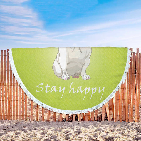 Stay Happy Green French Bulldog Blanket