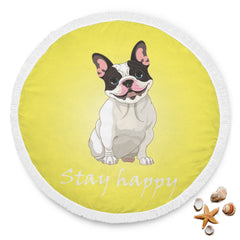 Stay Happy Yellow French Bulldog Beach Blanket