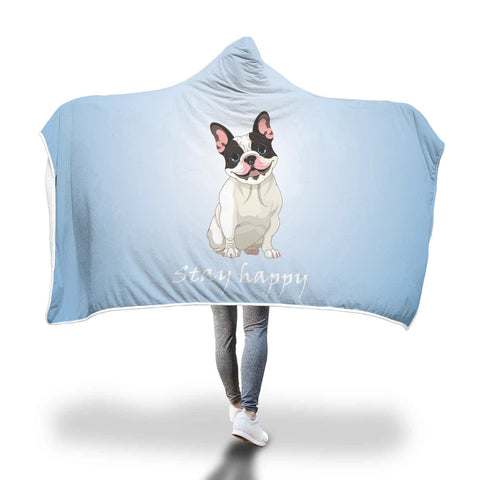 Stay Happy Blue French Bulldog Hooded Blanket