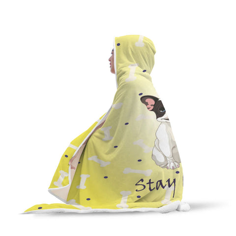 Stay Happy Yellow French Bulldog Hooded Blanket