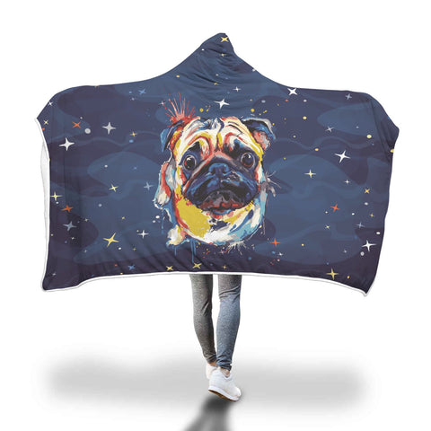 Artistic Pug Hooded Blanket