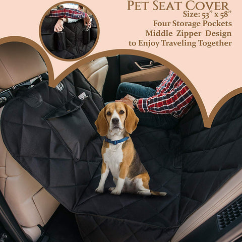 2Bexpert Dog Car Seat Cover, Pet Car Hammock, Reinforced Quilted Panels, Convertible Backseat Protector with Extra Side Flaps, Pet Seat Belt & Tote Bag