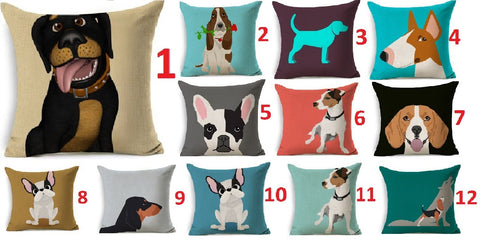 Dog Printed Linen Cushion Cover