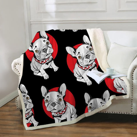 French Bulldog Sherpa Fleece Blanket