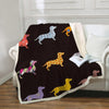 Image of Multi Color Dachshund Ultra Soft Blanket