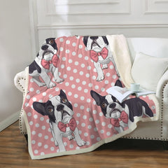 Pink French Bulldog Sherpa Fleece Blanket