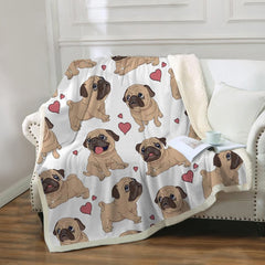 Pug Sherpa Fleece Blanket