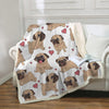 Image of Pug Sherpa Fleece Blanket