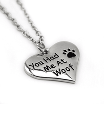 """You Had Me at Woof"" Paw Print Heart Necklace"