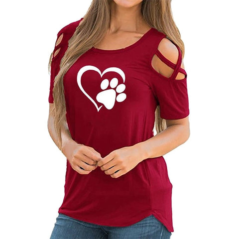 Cute Heart w/ DOG Cropped T-Shirt