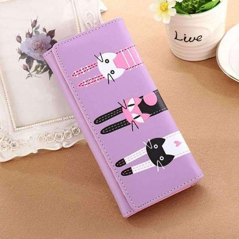 Designer Three Cat Wallet (Bright Colors)
