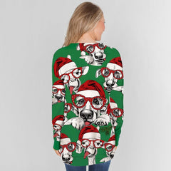 Merry Christmas Dog Long Sleeve T-Shirt w/ Zipper